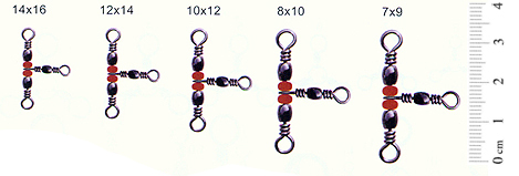 Вертлюг тройной Rubicon Barrel Swivel w/Triple Red Beads 71019-07-09, раз. 7*9