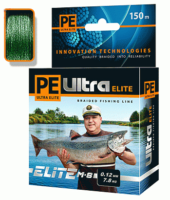 PE ULTRA ELITE M-8 150m dark green, d=0,30mm